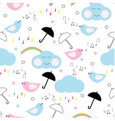 Seamless pattern with happy clouds and rainbow vector