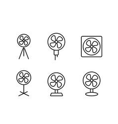 Set electric fan icon in linear style vector