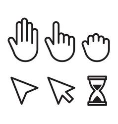 set flat modern cursor icons vector image
