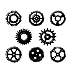 Set of metallic pinions and gears vector image