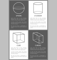 Sphere and cylinder cube cuboid geometric shapes vector