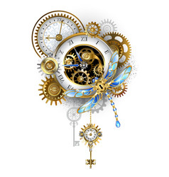 Steampunk dragonfly with clock vector