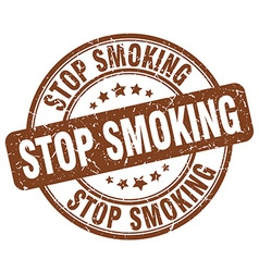 Stop smoking brown grunge round vintage rubber vector