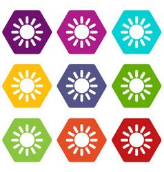 sun icon set color hexahedron vector image