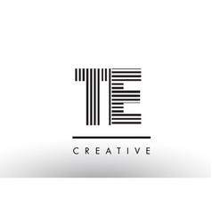 Te t e black and white lines letter logo design vector