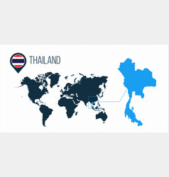 Thailand map located on a world map with flag and vector