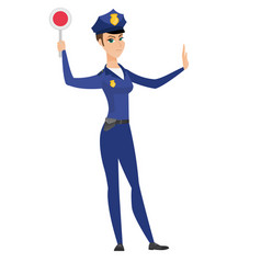 Traffic police woman holding traffic sign vector