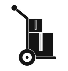 Truck with boxes icon simple style vector