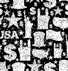 USA patriotic symbol seamless pattern grunge style vector image