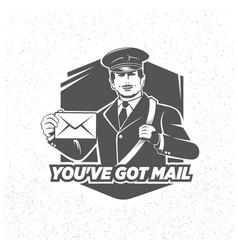Vintage postman symbol mail stamp vector