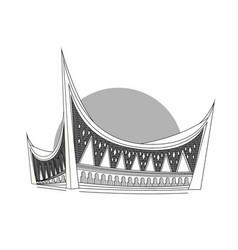 West sumatera capital mosque grayscale vector