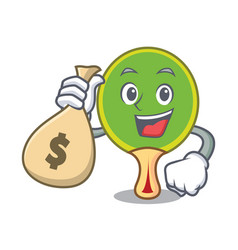 with money bag ping pong racket character cartoon vector image