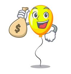 With money bag yellow balloon cartoon in shape vector