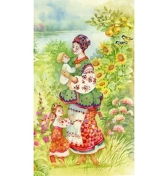 Woman in folk costume with children Ethnic vector image