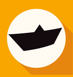 yacht icon on white circle with a long shadow vector image