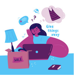 Young woman selling unnecessary things vector