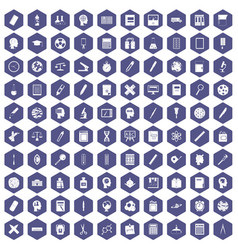 100 learning icons hexagon purple vector