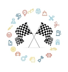Car Icon Set and Checkered Flags Motor Racing vector image