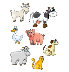 Cartoon cow dog sheep pig cat goat goose vector image vector image