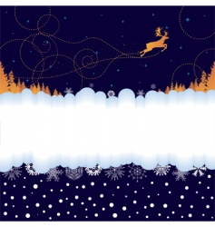 Christmas banner with reindeer vector image vector image