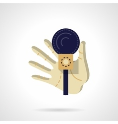 Hand with microphone flat color design icon vector image vector image