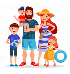happy family on summer vacation going to the beach vector image vector image