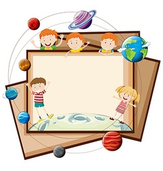 Paper design with children and planets vector image vector image