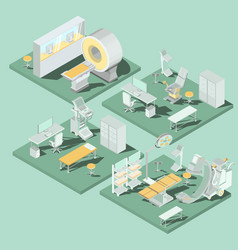 set of 3d flat isometric of medical vector image vector image