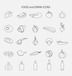 set of food and drink line icons vector image