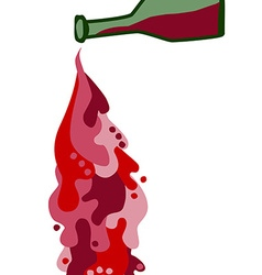Wine bottle with spilled liquid vector