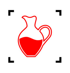 amphora sign red icon inside black focus vector image