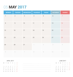 Calendar Planner for May 2017 vector image vector image