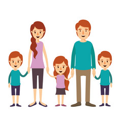 colorful image caricature family with young vector image vector image