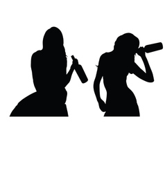 girl drink silhouette vector image vector image