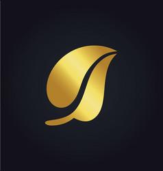 gold leaf nature organic logo vector image vector image