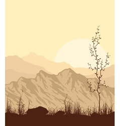 Landscape with mountains grass and tree vector image