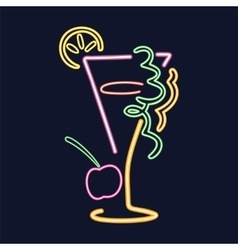 Neon cocktail sign vector image