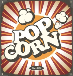 Pop corn retro design tin sign vector image vector image
