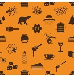 set of honey theme icons seamless pattern eps10 vector image