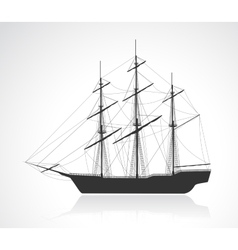 Black old sailing ship silhouette vector image