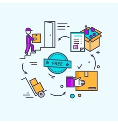 Free Shipping Concept Icon Flat Design vector image