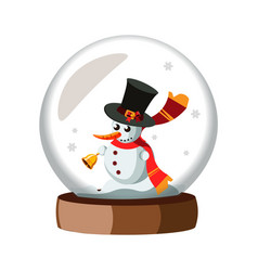 merry christmas glass ball with snowman vector image vector image