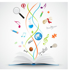 Open book with science icon vector image vector image