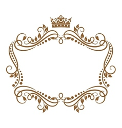 Retro frame with royal crown and flowers vector