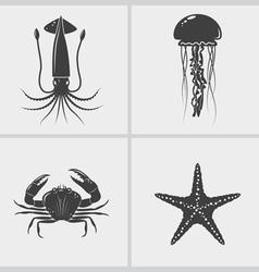 Sea Creature Black Icon vector image vector image