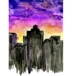 Sunset City Watercolor vector image vector image