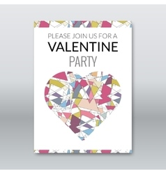 valentine card invitation polygonal style vector image vector image