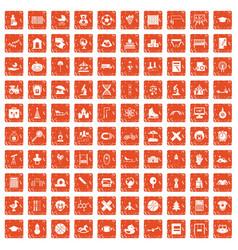 100 kids icons set grunge orange vector image vector image