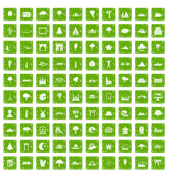 100 view icons set grunge green vector image vector image