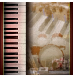 Abstract grunge background with piano on brown vector